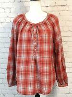 Faded Glory Womens Flannel Popover Shirt Size Medium Orange Plaid Long Sleeve