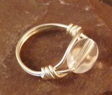 Hecho a mano de cristal claro Cristal Oval Alambre Envuelto Anillo-UK Tamaño L