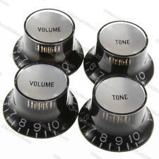 4-Pak BLACK Top Hat Bell Knobs Silver Reflector Tone Volume Metric Import Coarse