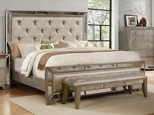 Antique Formal Contemporary Est King Size Bed Mirrored Head & Footboard Furnitur