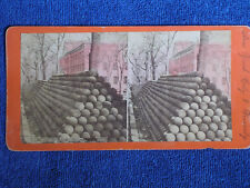 Brooklyn NY/Long Rows of Cannonballs Stacked in Navy Yard/Albumen Stereoview