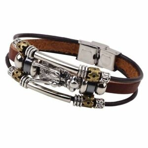 Mens Silver & Leather Viking Dragon Wolf Head Bracelet Bangle Multi-Layer Wrap