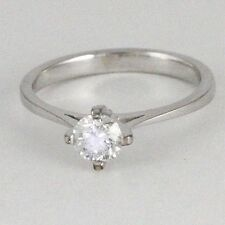 18k White Gold Diamond Solitaire Ring (estate band design, 0.42 ct, 2.17g) #2293