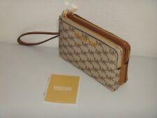 MICHAEL KORS Womens MK Signature Double Zip Wristlet Clutch Wallet Natural Acorn