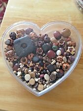 Jewelry Making Kit~Necklace Beads pendant, rounds, cylinders~Heart-shaped case