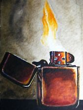 Watercolor Painting Zippo Lighter Fire ACEO Art '