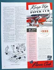 Original 1941 Piper Cub Airplane Color Ad KEEP UP WITH THE TIMES