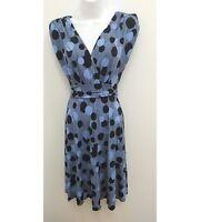 Roulette Womens Small Dress Blue Black Circle Stripes V-neck Sleeveless B10