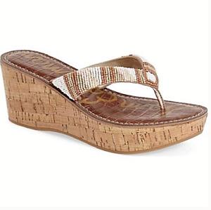 Sam Edelman Rosa Platform Beaded Sandals Cork Wedge Size 8.5 Summer Beach 227