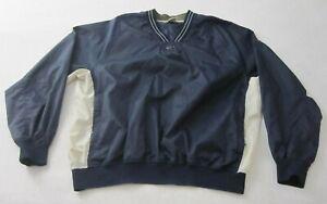 Vintage Nike Pullover Windbreaker Men's Navy Blue XL Long Sleeve V-Neck Swoosh