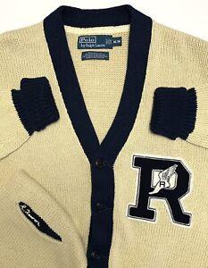 VTG Polo Ralph Lauren Ivroy Wing Letterman Wing Cardigan Mens M Linen Cotton
