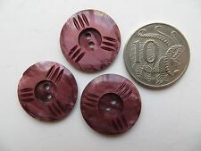 1930s Vintage Med Carved Cranberry Pink Bakelite Dress Craft Coat Buttons-23mm
