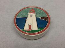 Aitkens Pewter and Enameled Lighthouse Round Trinket Box
