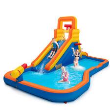 Inflatable Splash Water Bouncer Slide Bounce House w/ Climbing Wall & Ball Hoop