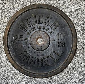 """25 Lb Weider SINGLE Cast Iron Barbell Weight Plate Standard 1"""" Hole Vtg USA"""