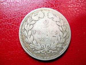France. 2 Francs Cérès 1871 k sans légende. Argent. TB/TB+