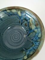 """Pottery Bowl  BLUE, GREEN AND PINK 7"""" Wide by 3 1/2"""" Tall  Signed JT"""