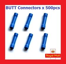 500x BLUE STRAIGHT BUTT CRIMP TERMINAL INSULATED SPLICE WIRE CONNECTORS 16-14AWG