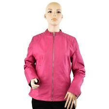 Women Genuine Leather Jacket Round neck Zip Up Style Quilted Shoulders Panels