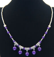 Ladies Jewelry Tibetan Silver Necklace Amethyst Pendant Necklace Jewellery