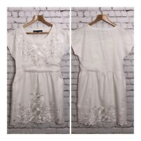 French Connection White Cotton Embroidered Dress Size 6 Beach Holiday Festival