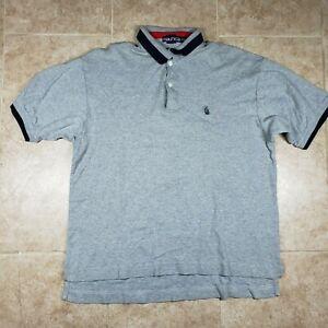 Nautica Men's Short Sleeve Polo Shirt Cotton Gray Blue Size Large