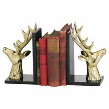 BRASS STAG MARBLE BOOKENDS - KEEP YOUR BOOKS ORGANISED