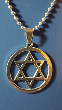 "Star Of David Pendant Necklace On 18"" (46cm) Ball Chain Stainless Steel       b3"