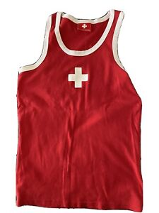 Andrew Christian Red & White Cross Tank Top Size Medium No Tag Euc