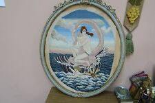 Vintage Needlepoint Hand Made Stitched Petite Point Nude Angel Cherub Tapestry