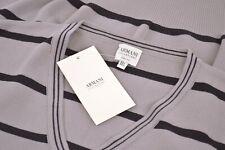 Armani Collezioni NWT V-Neck Sweater Vest Size XXL Gray & Black Stripes