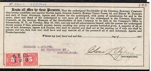 **USA = 5c Documentary Revenue on G. E. C. Stockholder document. 1925. (O0700a)