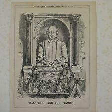 """7x10"""" cartone animato Punch 1864 Shakespeare e il pigmies"""