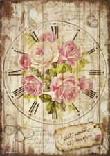 Rice Paper for Decoupage Scrapbook Craft Sheet Sweet Time Clock Bouquet
