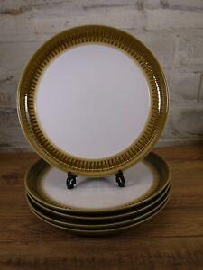 """5 Vintage Denby Langley Patrician Gold 10"""" Dinner Plate"""