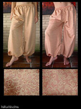 Harem Pants Belly Dance Iridescent Red and Tan Floral Design Reversible