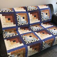 "Handmade Patchwork Quilt 54"" x 65"" Lap Sofa Throw Blue Rust Ivory Log Cabin USA"
