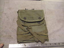 US WW2 OD Canvas Three Pocket Grenade Pouch with Belt Hook and Leg Ties, 1945