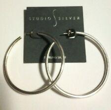 "STUDIO SILVER Sterling Silver Polished Large 2 1/4"" Open Hoop Earrings NWT"