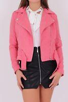 MISS TRUTH Suedette Biker Jacket in Pink (rst92)