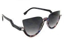 Designer Cat Eye Rhinestone Half Frame Sunglasses Gradient Lens Women Fashion