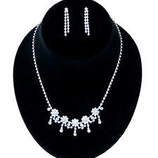 Silver Plt Bridal Crystal Rhinestone Daisy Flower Drop Necklace Set w Bracelet