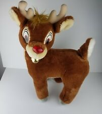 Vintage Jumbo APPLAUSE RUDOLPH THE RED NOSE REINDEER PLUSH WITH BELL MUSIC LIGHT
