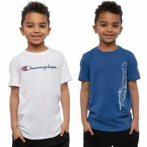 NWT Youth Boy's Champion 2-Pack Tee Shirts Blue/White or Navy/Gray Size S, M, L