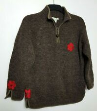 PACHAMAMA HAND KNIT CHUNKY JUMPER SWEATER L BROWN WOOL HIGH ZIP NECK FLOWERS 011