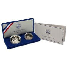 (1) 1986 S US Statue of Liberty $1 Silver Dollar & Half 2 Coin Proof Set wCOA&Bx