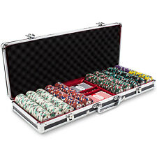 New 500 Showdown 13.5g Clay Poker Chips Set with Black Aluminum Case Pick Chips!