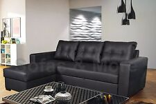 Living Room Corner Sofa Bed Faux Leather Large Storage Extra Support Durable