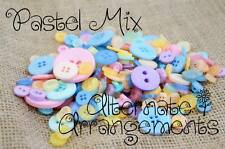 PASTEL MIX - Mixed Bulk Buttons 250+ Craft Scrapbooking Bouquet Mixed Colours