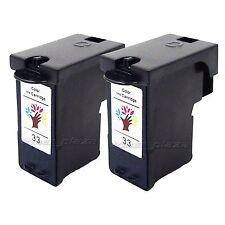2PCS Premium #33 Ink Cartridge Tri-Color for Lexmark Printer X8350 X3350 Z818